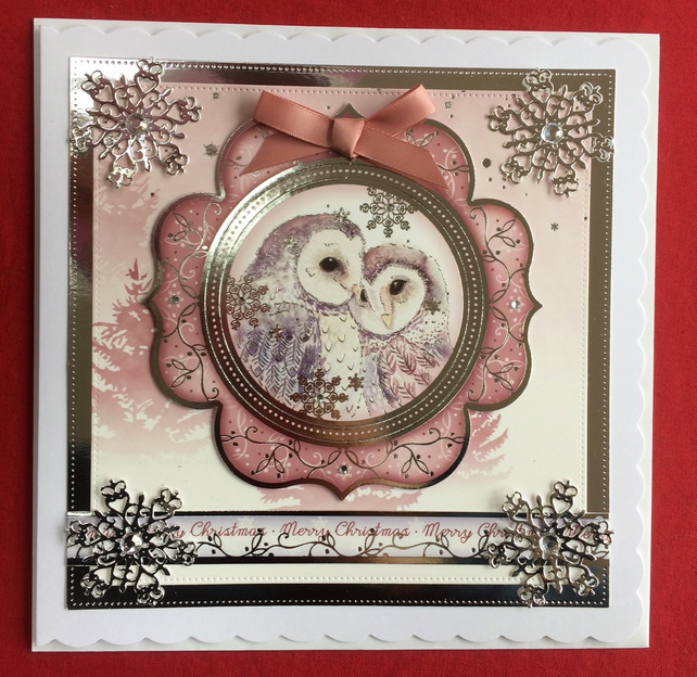 3D Luxury Handmade Card Merry Christmas Owls by Poppy Kay Designs