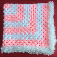 Winter Pink White Baby Blanket Hand Crochet by Poppy Kay Designs