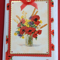 3D Luxury Handmade Card Red Poppies in Vase by Poppy Kay Designs