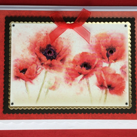 3D Luxury Handmade Card Soft Red Poppies by Poppy Kay Designs