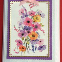 3D Luxury Handmade Card Multi Colour Wild Poppies by Poppy Kay Designs