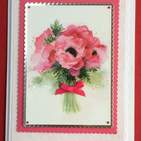 3D Luxury Handmade Card Pink Poppies Bouquet by Poppy Kay Designs