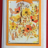 3D Luxury Handmade Card Orange and Yellow Wild Poppies by Poppy Kay Designs