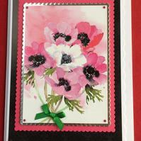3D Luxury Handmade Card Pink White Poppies Bouquet by Poppy Kay Designs