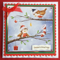 3D Luxury Handmade Card Christmas Robins in Tree by Poppy Kay Designs