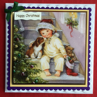 3D Luxury Handmade Card Christmas Little Boy Puppy Teddy by Poppy Kay Designs