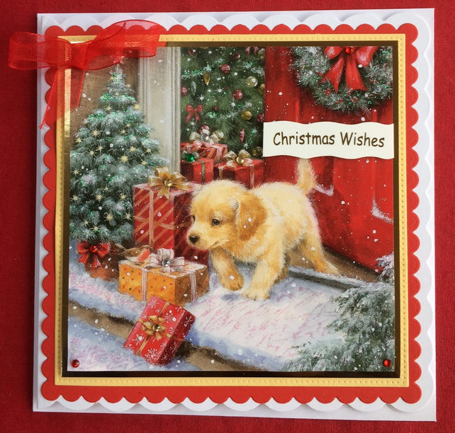 3D Luxury Handmade Card Christmas Labrador Puppy Dog by Poppy Kay Designs