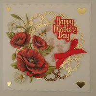 3D Luxury Handmade Card Happy Mother's Day Red Poppies with Gold Hearts