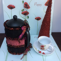 Luxury Hand Knitted Sparkly Blackberry Cafetiere French Press Coffee Cosy