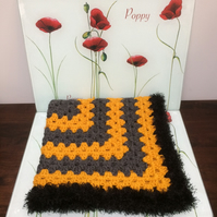 Winter Christmas Charcoal Mustard Baby Blanket Hand Crochet by Poppy Kay Designs