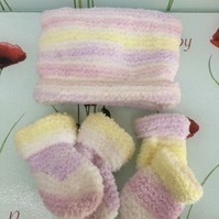 Hand Knitted Baby Hat Mittens and Booties Set Pastel Stripes Poppy Kay Designs