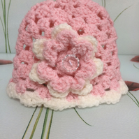 Winter Pink White Hand Crochet Baby Hat with Flower by Poppy Kay Designs