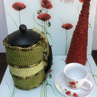 Luxury Hand Knitted Sparkly Green Apple Cafetiere French Press Coffee Cosy