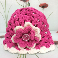 Winter Cerise Pink White Hand Crochet Baby Hat with Flower by Poppy Kay Designs
