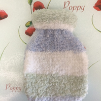 Winter Baby Blue Green Hand Knitted Hot Water Bottle Cover by Poppy Kay Designs