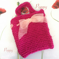 Hot Pink Hand Knitted Girl's Handbag with Organza Bow by Poppy Kay Designs