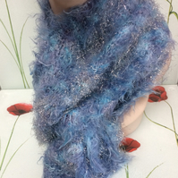 Hand Knitted Super Sparkly Blue Glittery Fashion Scarf by Poppy Kay Designs