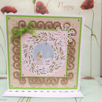 3D Luxury Handmade Card Christmas Gazing Hare by Poppy Kay Designs