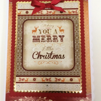 3D Luxury Handmade Card Wishing You A Merry Little Christmas Vintage Stags