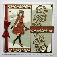 3D Luxury Handmade Christmas Card Wishing You an Elegant Christmas Girl