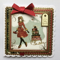 3D Luxury Handmade Christmas Card To Someone Very Special Girl Sleigh