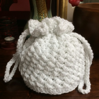 Hand Crocheted White and Silver Sparkly Drawstring Bag Handbag Purse