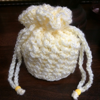 Luxury Hand Crocheted Lemon Yellow Sparkly Drawstring Bag Gift Pouch Purse