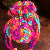 Hand Crocheted Luxury Bold Multi Colour Drawstring Bag Handbag Coin Money Purse
