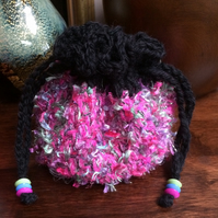 Hand Crocheted Luxury Pink Black Fashion Drawstring Bag Handbag Coin Money Purse
