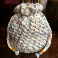 Hand Crocheted Luxury Cream and Rainbow Fleck Drawstring Bag Purse