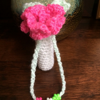 Hand Crocheted Luxury Lipstick Drawstring Pouch Case Holder with Hot Pink Flower