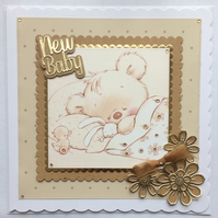 3D Luxury Handmade Card New Baby Cute Sleeping Teddy Holding Rabbit with Duck