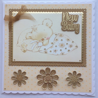 3D Luxury Handmade Card New Baby Cute Teddy Asleep Holding Rabbit with Duck