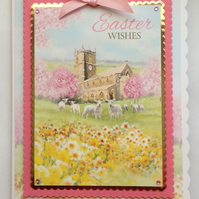 3D Luxury Handmade Card Easter Wishes Church Lambs and Daffodils