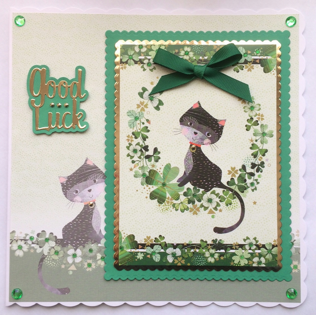 3D Luxury Handmade Card Good Luck Black Cat with Four Leaf Clovers
