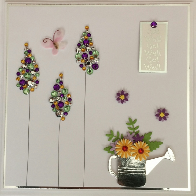 3D Luxury Handmade Get Well Card Watering Can Flowers and Gem Trees