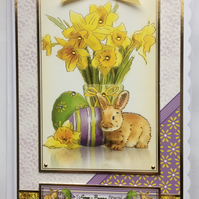 3D Luxury Handmade Card Easter To Some Bunny Special Rabbit and Daffodils