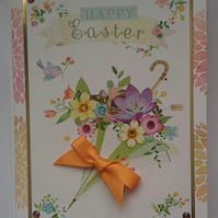3D Luxury Handmade Card Happy Easter Umbrella of Spring Flowers