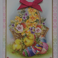 3D Luxury Handmade Easter Card Basket of Spring Flowers Chicks and Eggs