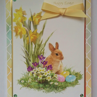 3D Luxury Handmade Card Happy Easter Bunny Rabbit Daffodils and Eggs