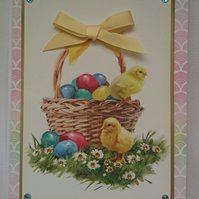 3D Luxury Handmade Easter Card Basket of Easter Eggs and Chicks