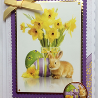 3D Luxury Handmade Card Easter Just for You Rabbit Eggs and Daffodils