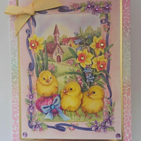 3D Luxury Handmade Easter Card Country Church Daffodils Egg and Chicks