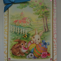 3D Luxury Handmade Easter Card Country Church Eggs and Cute Bunny Rabbits