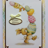 3D Luxury Handmade Easter Wishes Card Chick Bunny Rabbit and Eggs Cute
