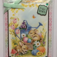 3D Luxury Handmade Easter Wishes Card Bunny Rabbits Basket of Eggs Green Bow