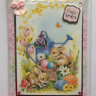3D Luxury Handmade Easter Wishes Card Bunny Rabbits Basket of Eggs Pink Bow
