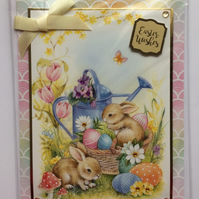3D Luxury Handmade Easter Wishes Card Bunny Rabbits Basket of Eggs Yellow Bow