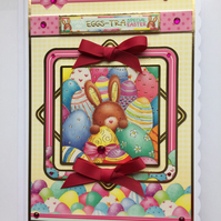 3D Luxury Handmade Easter Card Have an Eggs-tra Special Easter Cute Bunny
