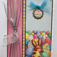 3D Luxury Handmade Easter Card Hoppy Easter Cute Bunny with Easter Eggs